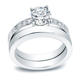 auriya platinum 12ct tdw certified round diamond bridal ring set - Platinum Wedding Ring Sets