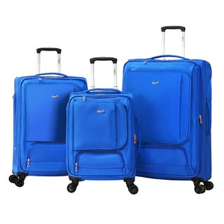Olympia Petra Polyester 3-piece Expandable Spinner Luggage Set