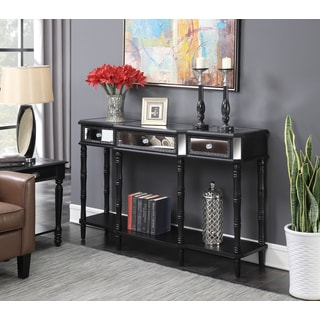 Convenience Concepts Milan Black Wood and Glass Mirrored Console Table