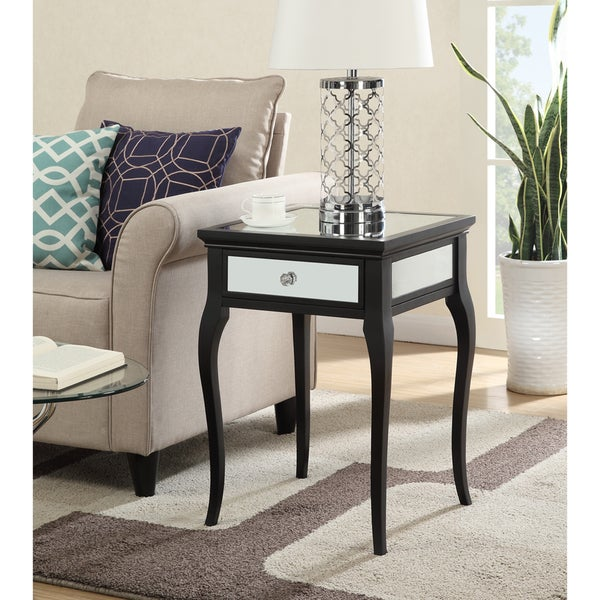 shop convenience concepts milan black wood glass mirrored end table on sale free shipping. Black Bedroom Furniture Sets. Home Design Ideas