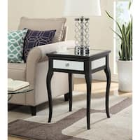Convenience Concepts Milan Black Wood/Glass Mirrored End Table
