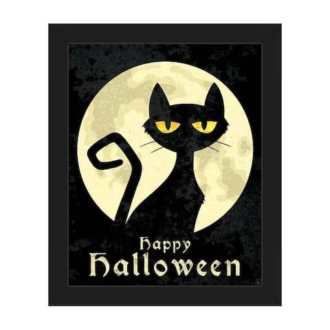 'Halloween Cat' Framed Canvas Wall Art