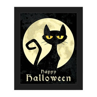 'Halloween Cat' Framed Canvas Wall Art