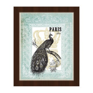 'Peacock in Mint Paris' Framed Canvas Wall Art
