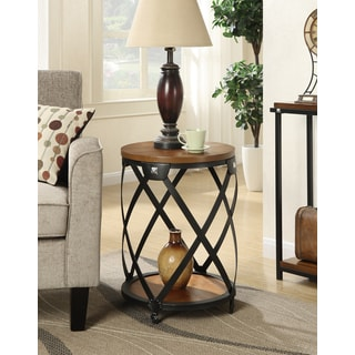 Convenience Concepts Nordic Black Metal/Walnut Wood Round End Table