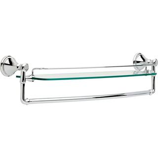 Delta Cassidy 24 in. W Wall Mount Glass Shelf with Bar in Chrome 79711