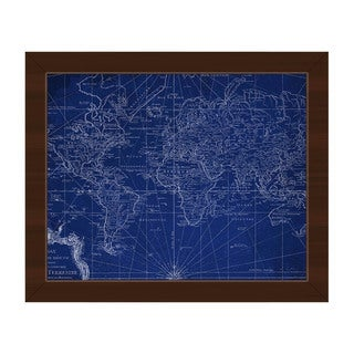 World Geography Map Framed Canvas Wall Art