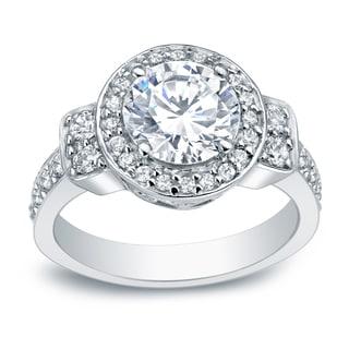 Auriya Platinum 2 3/4ct TDW Certified Round-Cut Diamond Engagement Ring