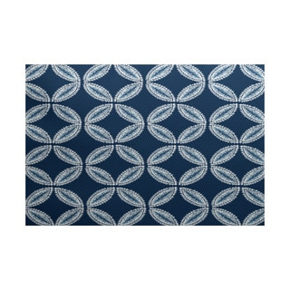 E by Design Tidepool Blue/Green/Purple Polyester Geometric Print Indoor/Outdoor Rug (3' x 5')