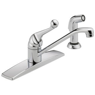 Delta Classic Single-Handle Side Sprayer Kitchen Faucet in Chrome w/ Fittings 400LF-WF