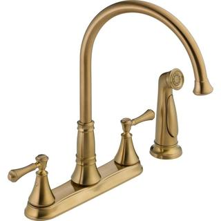 Delta Cassidy 2-Handle Side Sprayer Kitchen Faucet in Champagne Bronze 2497LF-CZ