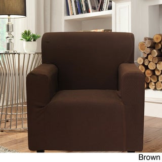 Smart Seam Form-fitting Stretch Chair Slipcover (Brown)