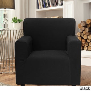 Smart Seam Form-fitting Stretch Chair Slipcover (Black)