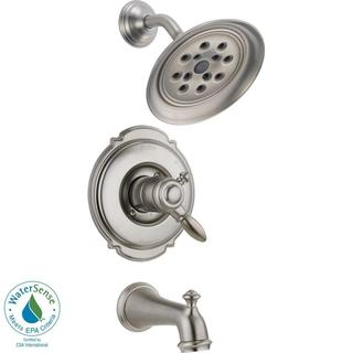 Delta Victorian 1-Handle H2Okinetic Tub and Shower Faucet Trim Kit in Stainless (Valve Not Included) T17455-SSH2O