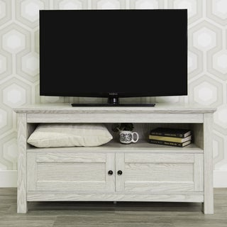 "44"" White Modern Farmhouse Storage TV Stand"