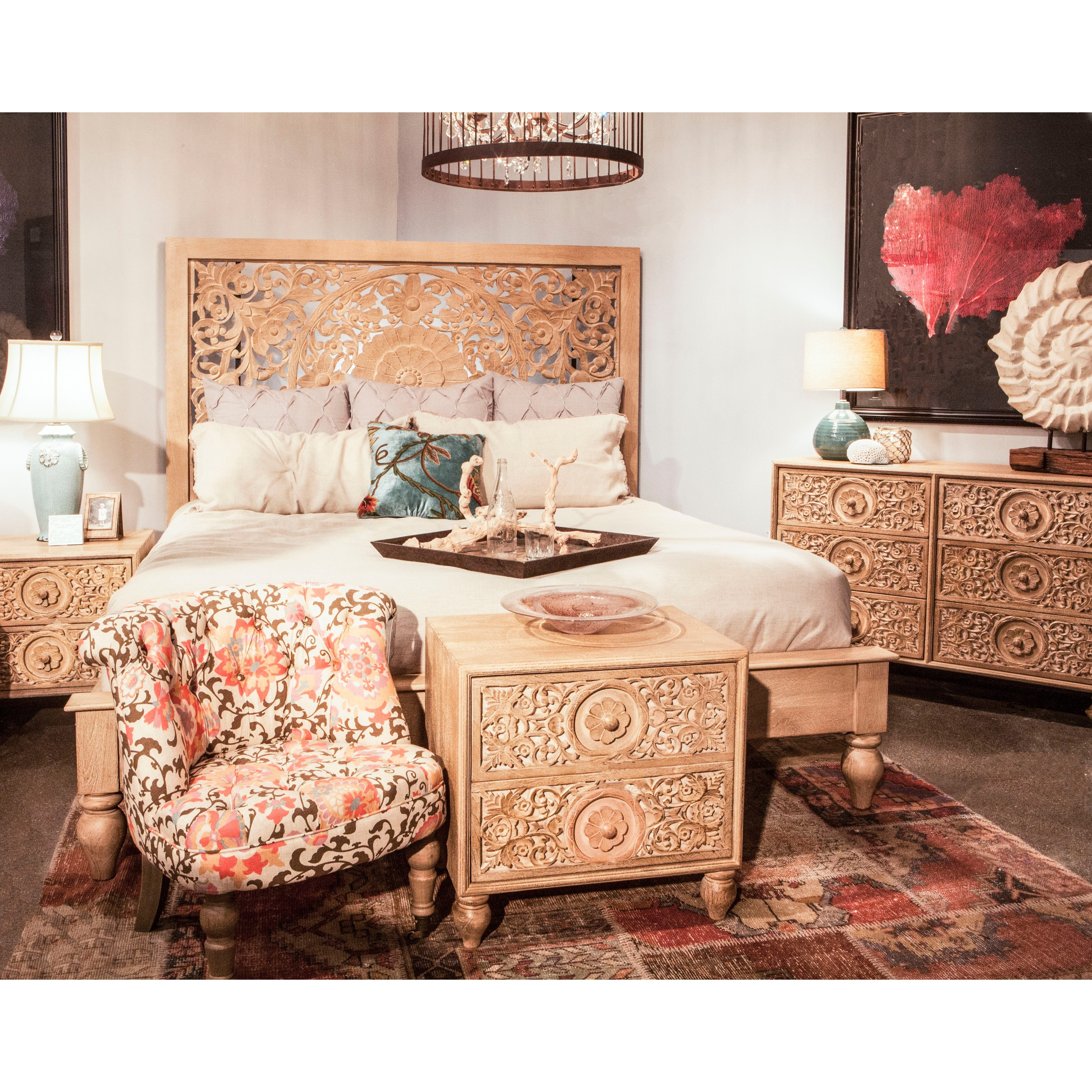 Haveli Natural Solid Mango Wood 24-inch High Night Chest (24 inch)