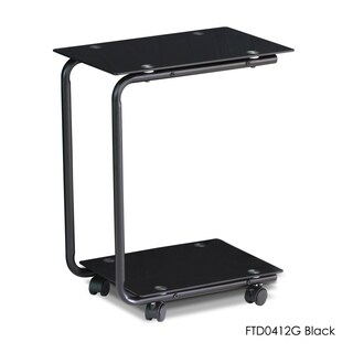 Furinno Kaca Glass U-shaped Wheeled Laptop Desk