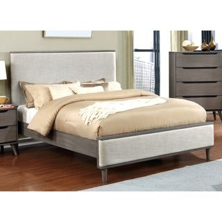 Furniture of America Corrine II Mid-Century Modern Upholstered Queen Size Platform Bed