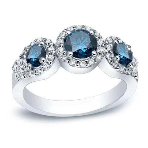 Auriya Platinum 1 1/5ctw 3-stone Halo Blue Diamond Engagement Ring