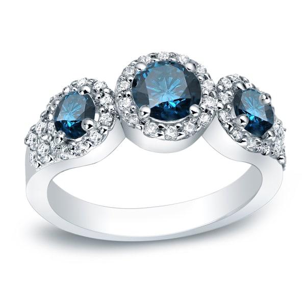 Auriya Platinum 1 1/5ctw 3-stone Halo Blue Diamond Engagement Ring. Opens flyout.