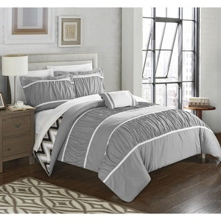 Chic Home 8-Piece Brooks Bed-In-A-Bag Grey Comforter Set