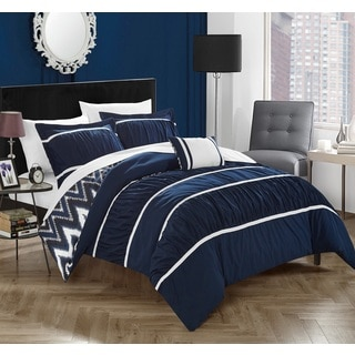Chic Home 8-Piece Brooks Bed-In-A-Bag Navy Comforter Set