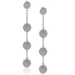 Suzy Levian Sterling Silver Cubic Zirconia Ball Drop Earrings