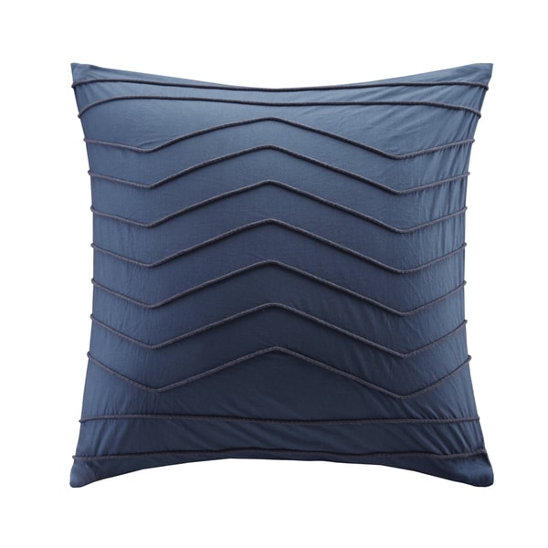 Ink Ivy Naomi Blue Cotton Percal Embroidered Square Pillow