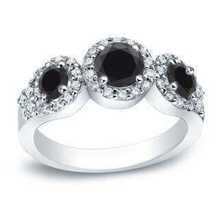 Auriya Platinum 1 1/5ct TDW 3-Stone Black Diamond Halo Engagement Ring (More options available)