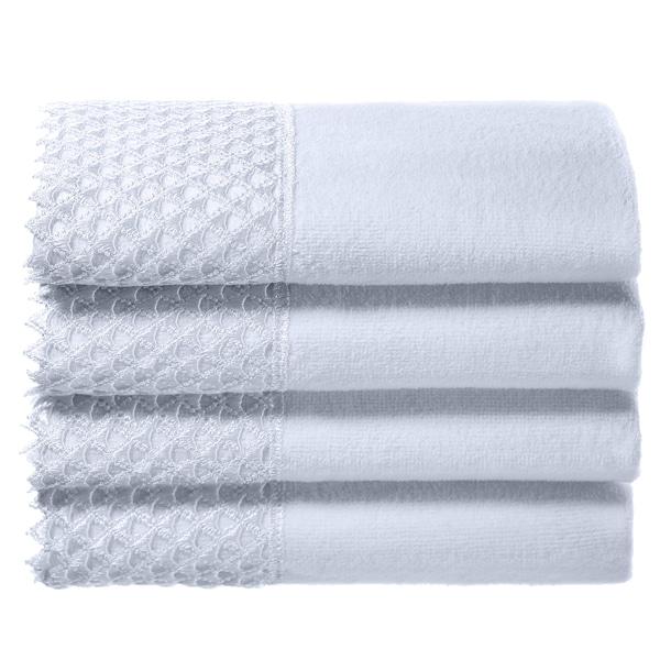 Creative Scents White Embellished Fingertip Towels (set of 4)