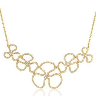 Suzy Levian Golden Sterling Silver Cubic Zirconia Floral Thin Necklace