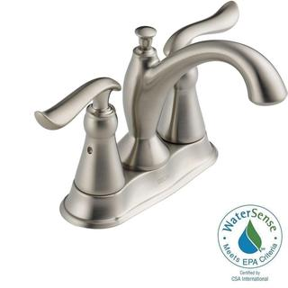 Delta Linden 4 in. Centerset 2-Handle High Arc Bathroom Faucet in Stainless w/ Plastic Pop-Up 2594-SSTP-DST