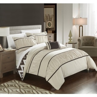 Chic Home 8-Piece Brooks Bed-In-A-Bag Beige Comforter Set
