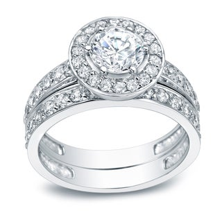 Auriya Platinum 2 1/4ct TDW Certified Halo Diamond Bridal Ring Set