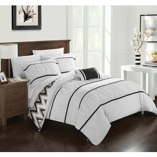 Chic Home 8-Piece Brooks Bed-In-A-Bag White Comforter Set