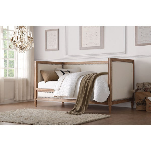 Charlton Rustic Cream Linen and Oak Daybed w/ Nailhead Trim