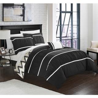 Chic Home 8-Piece Brooks Bed-In-A-Bag Black Comforter Set