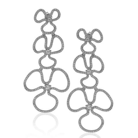 Suzy Levian Sterling Silver Cubic Zirconia Flower Drop Dangle Earrings - White