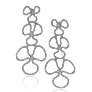 Suzy Levian Sterling Silver Cubic Zirconia Flower Drop Dangle Earrings