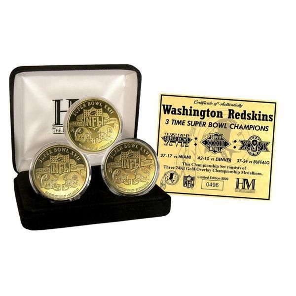 Washington Redskins 3-Time Super Bowl Champions 5 Coin Gold Coin Set