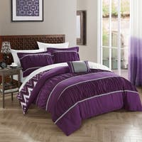 Chic Home 8-Piece Brooks Bed-In-A-Bag Purple Comforter Set