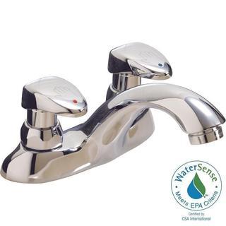 Delta Commercial 4 in. Centerset 2-Handle Low-Arc Bathroom Faucet in Chrome w/ Vandal-Resistant Handle Actuator 86T1153