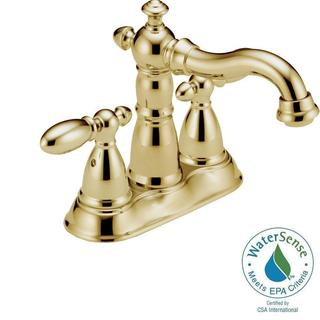 Delta Victorian 4 in. Centerset 2-Handle High Arc Bathroom Faucet in Polished Brass w/ Metal Pop-Up 2555-PBMPU-DST