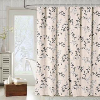 Creative Home Ideas Meridian Printed Cotton Blend 72 in. x 72 in. Soft Fabric Shower Curtain