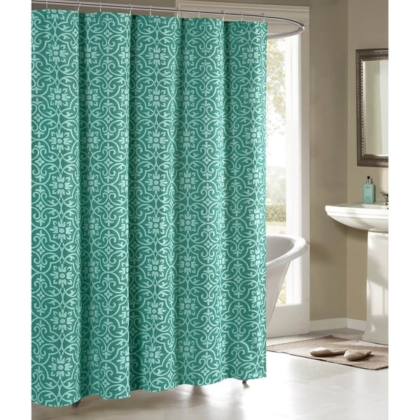 Creative Home Ideas Allure Printed Cotton Blend 72 in. x 72 in. Soft Fabric Shower Curtain