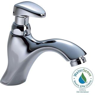 Delta Commercial Single-Hole Single-Handle Mid-Arc Metering Slow-Close Bathroom Faucet in Chrome 87T111