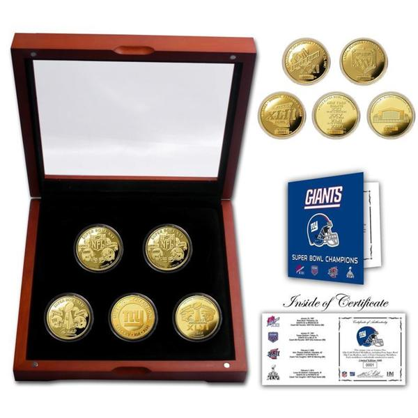 New York Giants 4-time Super Bowl Champions 5 Coin Gold Coin Set