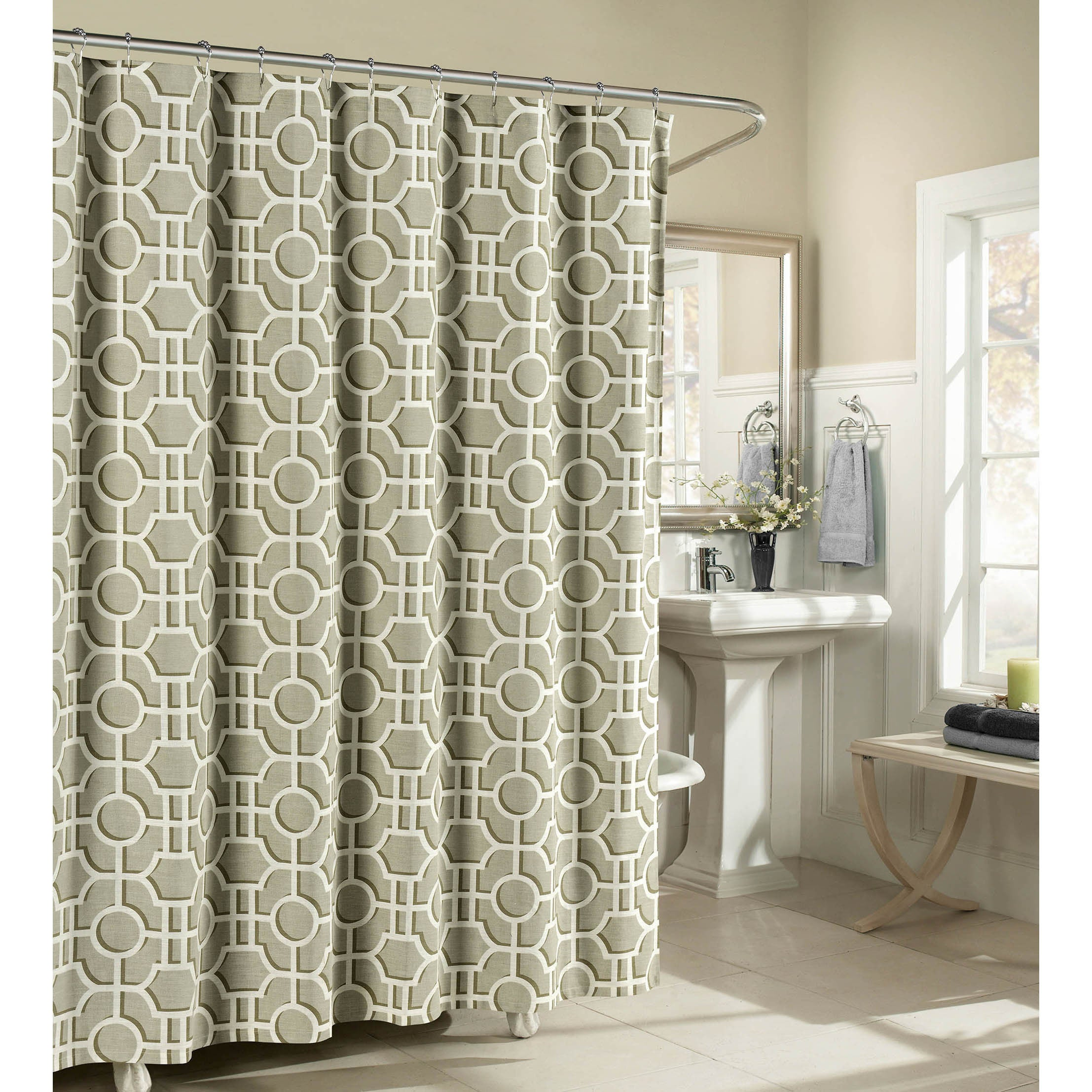 Shop Black Friday Deals On Creative Home Ideas Lenox 100 Cotton Luxury Fabric Shower Curtain Overstock 12833602 Teal