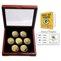 Green Bay Packers 24KT Gold plated 7 Coin Super Bowl Champions Set