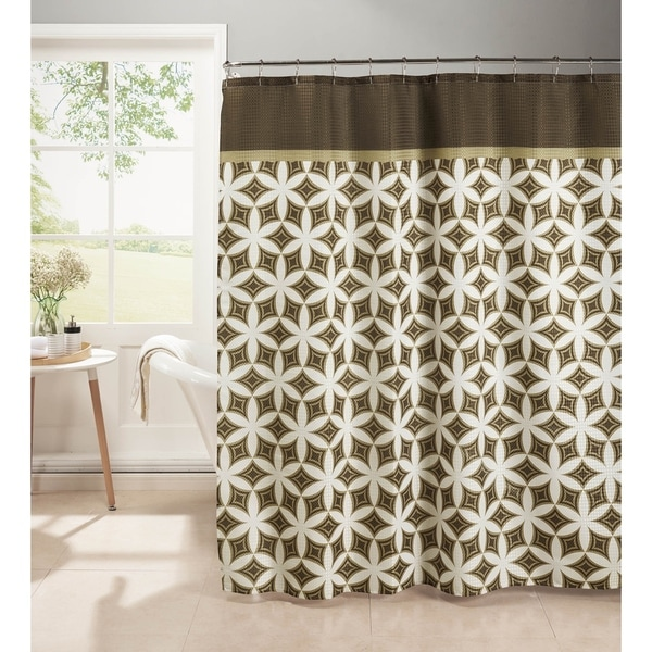 Creative Home Ideas Oxford Weave Textured 13-Piece Shower Curtain with Metal Roller Hooks in Harajuku Chocolate